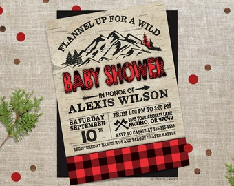 Plaid baby shower invitations, buffalo plaid, red plaid, baby shower invite, plaid baby shower, lumberjack shower invite, baby shower, plaid