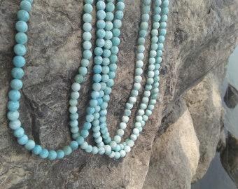 Larimar Mala,108 Bead Malas, Hand Knotted Mala, Larimar Mala Necklace,Beaded Necklace, Mala with Tassel,one Pcs.