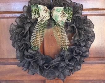SUPER SALE! - Fall wreath - Burlap wreath - Brown ruffle wreath - Pinecone - Rustic decor