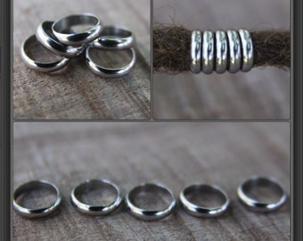 10 Stainless Steel Rings Dreadlock Beads 8mm Hole (5/16 Inch)