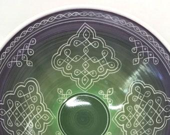 """9"""" Purple Green Porcelain Carved Serving Bowl"""