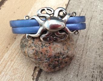 Beach Bracelet - Octopus Bracelet - Kraken Jewelry -Metallic Blue Leather Octopus Bracelet - Tentacle Bracelet - Graduation Gift