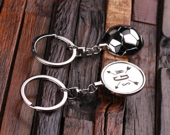 Personalized Monogrammed Soccer Ball Key Chain Men, Boyfriend, Birthday Father's Day Gift Idea with  Wood Gift Box