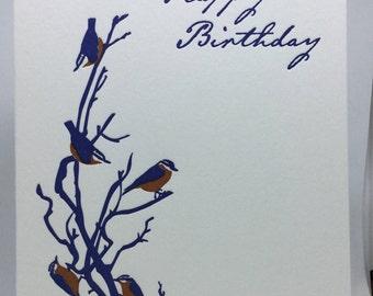 Happy Birthday Nuthatch Letterpress Card