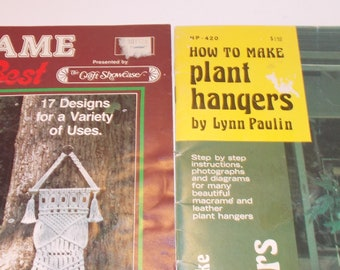 Macrame Pattern Books:  2- Macrame At Its Best (1979)...How to Make Plant Hangers by Lynn Paulin (1974)