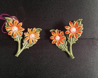 Vintage 1960s Enameled Metal Flower Earrings with Faux Pearls