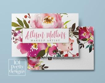 Floral business card design watercolor business card flowers printable business card design makeup artist hairdresser botanical pink