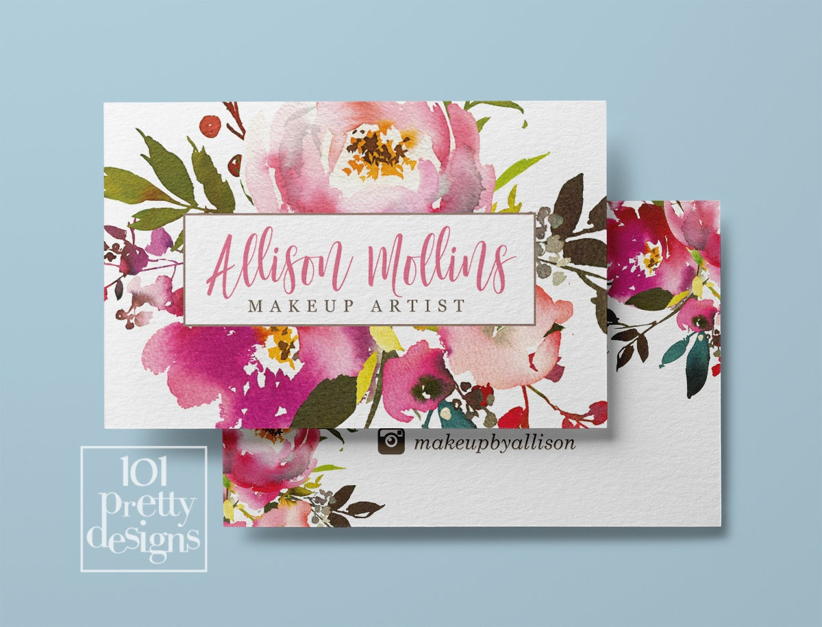 Floral business card design watercolor business card flowers