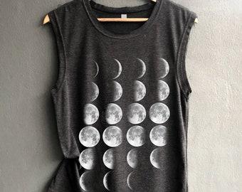 Moon Phase Shirt Moon Tank top Shirt Muscle Tank Top Womens