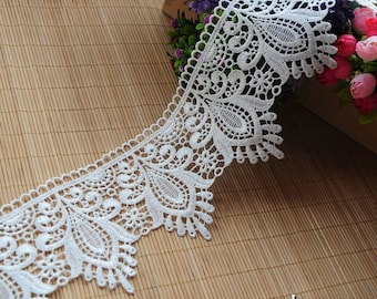 Venise lace trim embroidered with vintage Victorian patterns/Wide Lace Trim/Guipure Lace/White Wedding Lace by the yard VL-23-WH