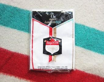 NOS Men's 100% Cotton Handkerchiefs, Pack of Six / Vintage Hanky, Hankies, Deadstock, Royal Crest, Made in USA