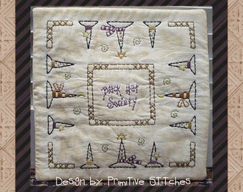 Black Hat Society Candle Mat--Primitive Candle Mat Stitchery Pattern-E-PATTERN--Instant Download