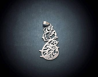 Yadeto/ thinking of you stainless steel Persian calligraphyhandcrafted pendant Hafiz -Niakan