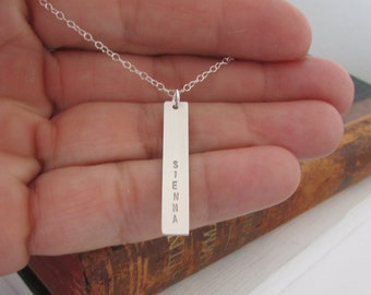 Silver Bar Necklace, Personalized Necklace, Gold Bar Necklace, Rose Gold Nameplate Necklace, Gold Necklace, Nameplate Necklace