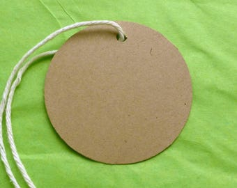 25 large circles round tags kraft tags w twine clothing price tags craft supplies gift tags blank tags hang tags merchandise tag product tag
