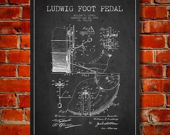 1909 Ludwig Drum Foot Pedal Patent, Canvas Print, Wall Art, Home Decor, Gift Idea