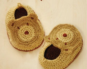 Bear Baby Booties Bear Preemie Bear Newborn Socks Animal Shoes Crochet Pattern & Brown Bear Applique (BB01-B-PAT)