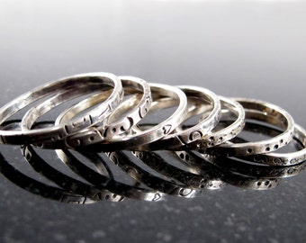Sterling Silver Stacking Band with Stamped Design