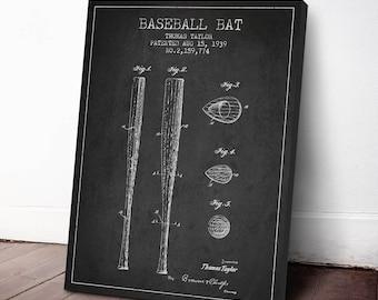 1939 Baseball Bat Patent, Baseball Print, Baseball Art Print, Baseball Decor, Home Decor, Gift Idea, SPBA03