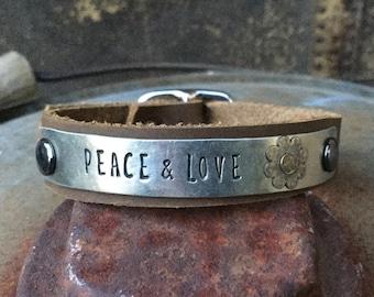 Custom Stamped Skinny German Silver Bracelet with Darkened Silver Flower