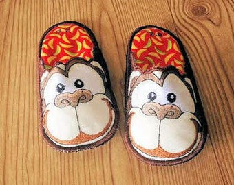 Monkey Bedroom Slippers, Kids Slippers, House Slippers, Made to Order