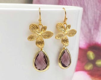 Gold Orchid Earrings, Purple Plum Orchid Earrings, Lace Matte Gold Flower Earrings, Purple Wedding Jewelry, Bridal Bridesmaid Mom