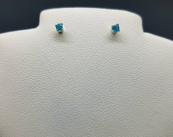 natural neon blue apatite studs, polished blue apatite earrings, blue apatite gemstones .08 cts 2 mm size in silver plated posts