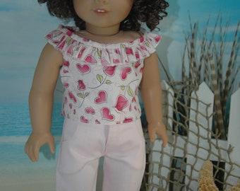 american, made, girl, doll, fits, 18 inch doll, ruffled, top, shirt