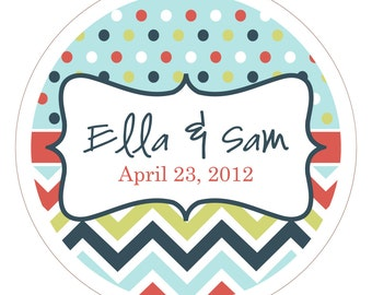 Chevron & Dots Personalized Stickers or Tags