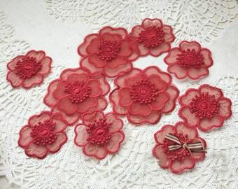 4.5cm/6.5cm wide 20pcs red 3D flowers embroidery lace appliques patches L14M157 free ship