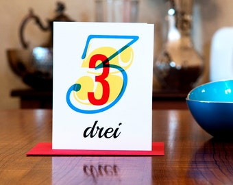 Drei - Number Three (3) Bilingual German Birthday or Anniversary Card in Red, Yellow and Blue
