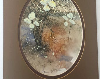 Vintage Original Floral Watercolor Painting Donna Watson Matted