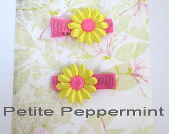 Set of two yellow and hot pink flower hair clip, baby hair clip, girl hair clip, toddler hair bow, infant hair clip, baby barrette