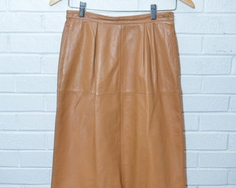 Vintage Valentino Cruelty Free Faux Leather Camel Pencil Skirt