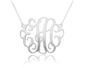 Personalized Monogram Necklace in Sterling Silver •  Monogram Necklace • Initials Necklace • Monogram Necklace Personalized Jewelry • NH10