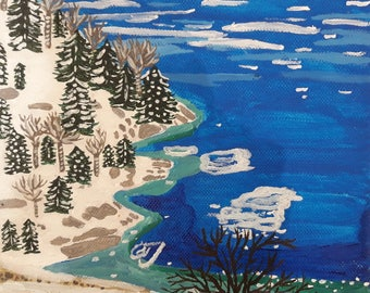Canada, snow and water on canvas