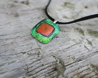 Green/ Orange Dichroic glass necklace