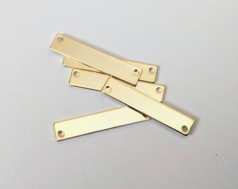 5 Gold Bar Pendants for Engraved Necklaces Stamping Engraving