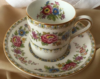 SALE Royal Grafton Demitasse Teacup & Saucer, England Fine China, Floral Teacup