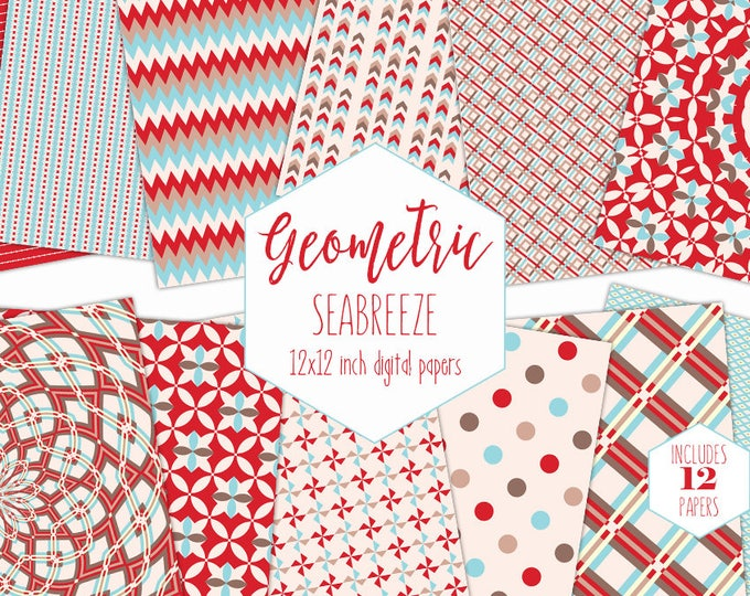 RED TAN & BLUE Digital Paper Pack Little Boy Backgrounds Geometric Scrapbook Paper Plaid Dot Patterns Party Printable Commercial Use Clipart
