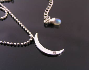 Crescent Moon Necklace, Moon Jewelry, Silver Moon Necklace, Silver Jewelry, Silver Necklace, Silver Choker, Stainless Steel Necklace, N1282