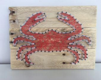 Crab String Art, Pallet Wood, Home Decor, Seaside