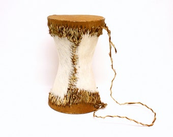Vintage Double Sided African Drum Made of Cow Hide with Carrying Strap