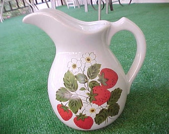 Vintage McCoy Pottery Strawberry Country Large 64 Ounce Pitcher, 1970s Heavy Country Farmhouse Pitcher / Vase