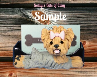 Yorkie Yorkshire Terrier dog Business Card Holder / Iphone / Cell phone / Post it Notes OOAK sculpture by Sally's Bits of Clay