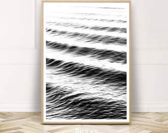 Beach Waves Printable Wall Art,Ocean Water Poster,Coastal Digital Prints Home decor,Instant Download,Black White Photography,Gift for Her