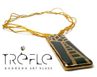 Glass pendant and gold tree of life
