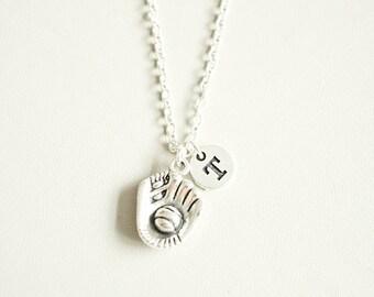 Softball Necklace, Softball  Gift, Baseball Necklace, Softball mom Gift, Sports necklace, Baseball Jewellery, Baseball glove, Team, Player