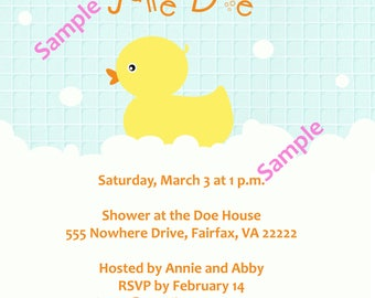 Rubber ducky baby shower invitation - 5x7