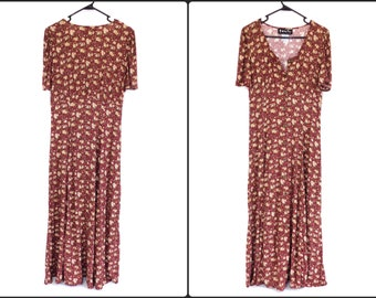 Vintage New 90s Floral Dress Grunge Maxi~nos-All That Jazz~ 100% Rayon~US Medium/Large Womens~See Dimensions